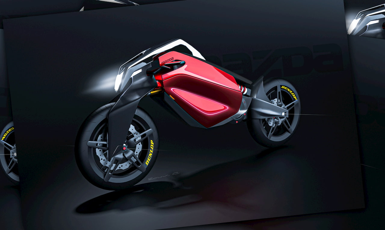Mazda inspired electric motorcyle design front