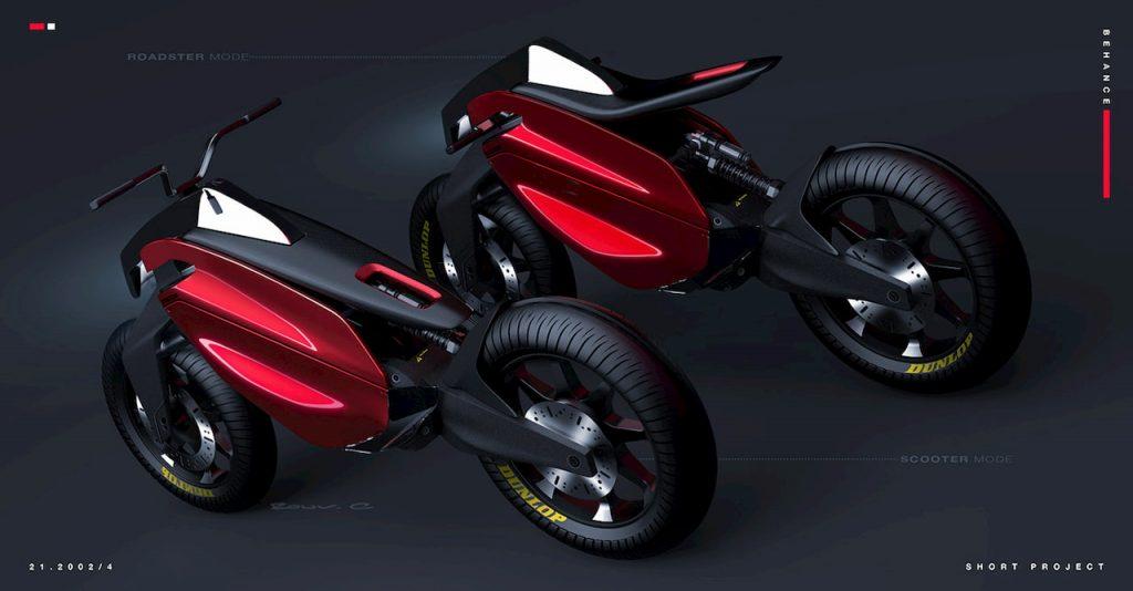 Mazda inspired electric motorcyle design rear