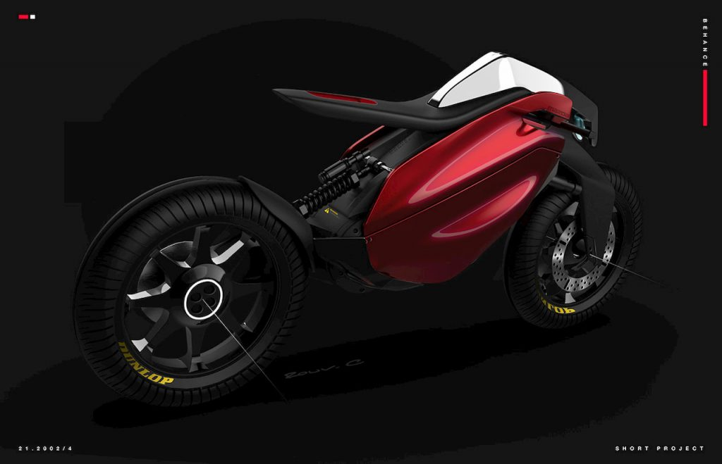 Mazda inspired electric motorcyle design side angle