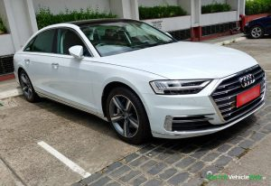New 2020 Audi A8L 55 TFSI front three quarters in India