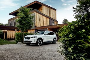 Production BMW iX3 front quarters exterior