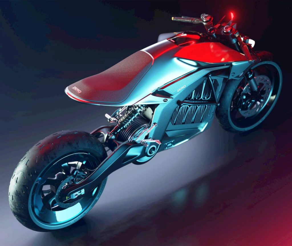 Project Skypark SR1 electric motorcycle rear by Anton Brousseau