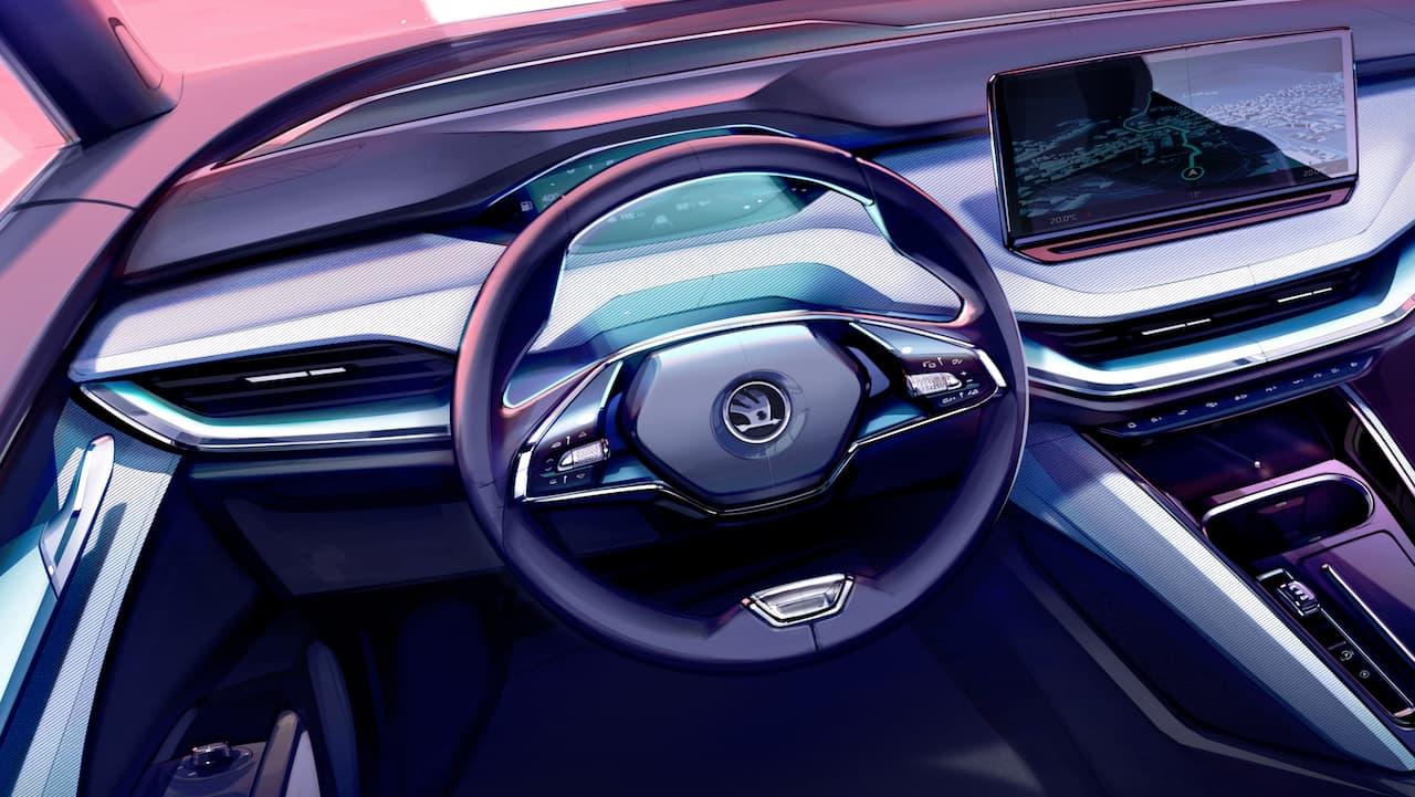 Skoda Enyaq two-spoke steering wheel 13-inch touchscreen HUD Augmented Reality