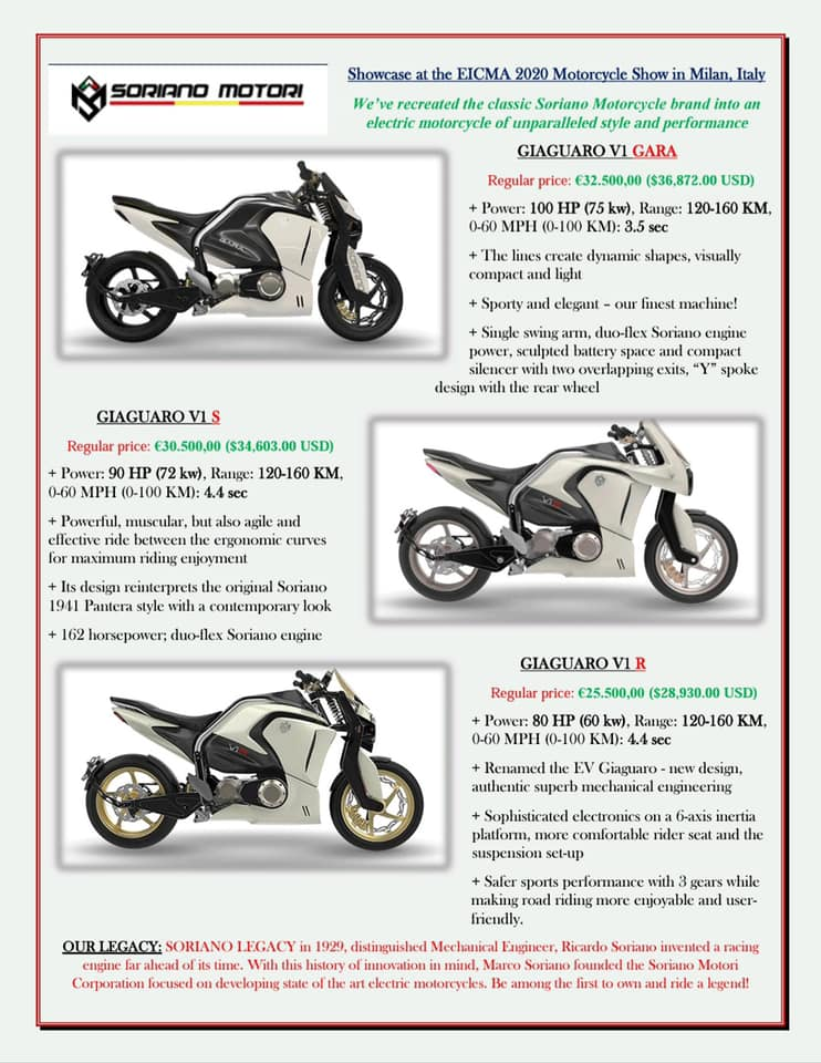 Soriano Motorcycle electric range and price