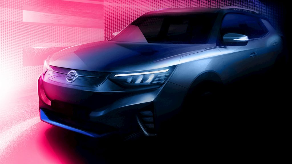 Ssangyong E100 electric SUV side teaser