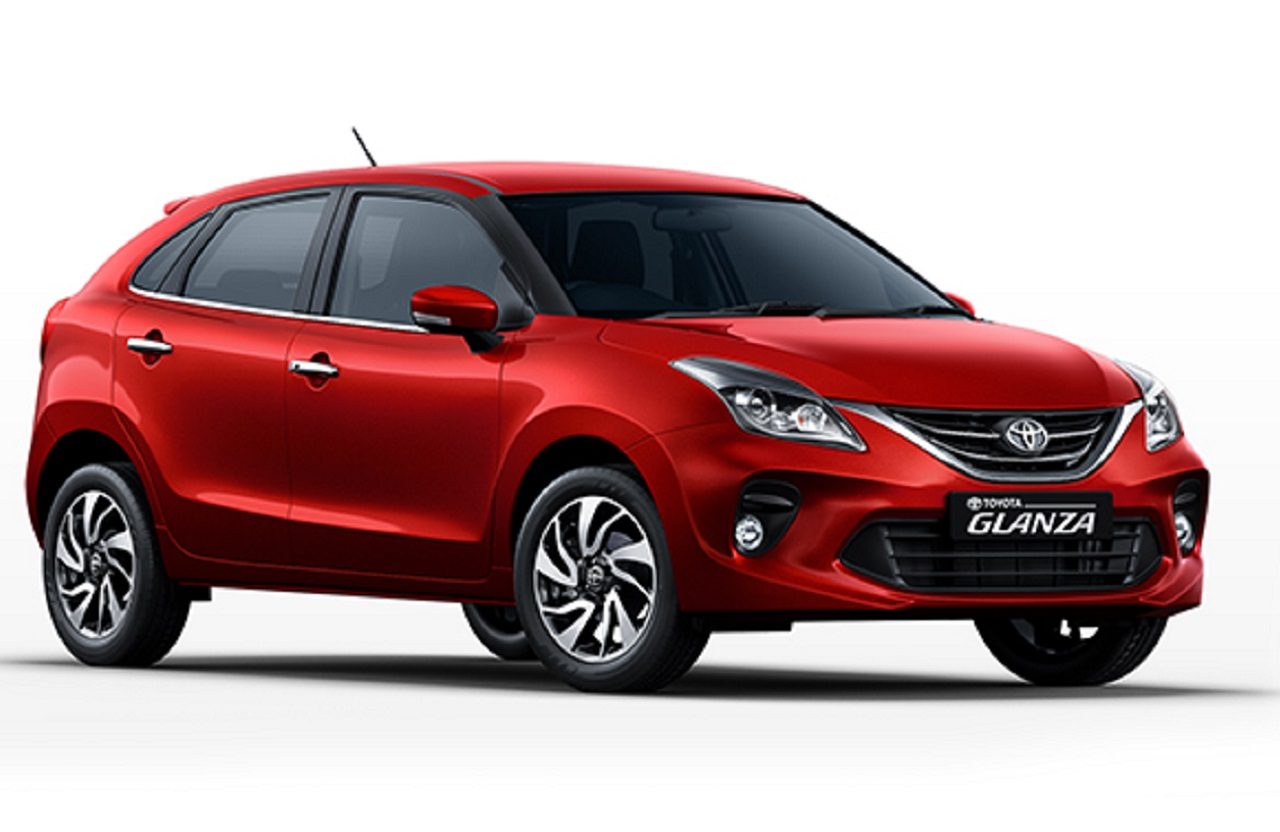 Toyota Glanza Sportin Red front quarter view