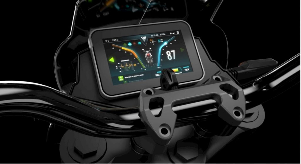 Voltz EVS electric motorcycle dashboard