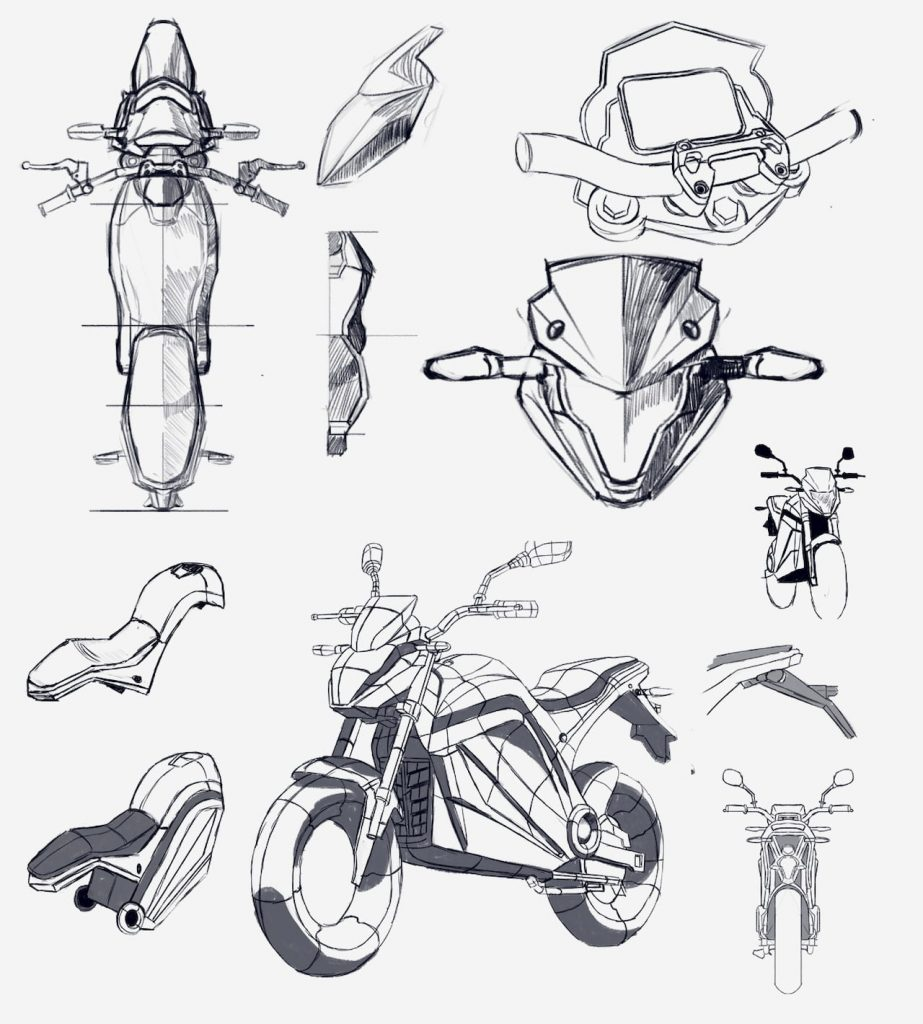 Voltz EVS electric motorcycle sketches