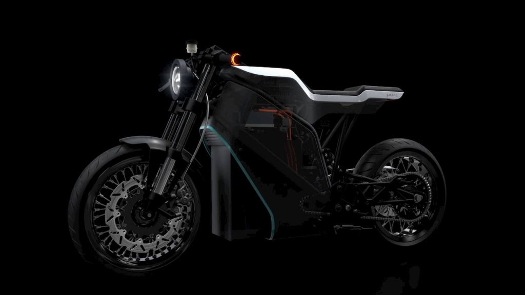 Yatri P-Zero electric motorcycle front three quarter