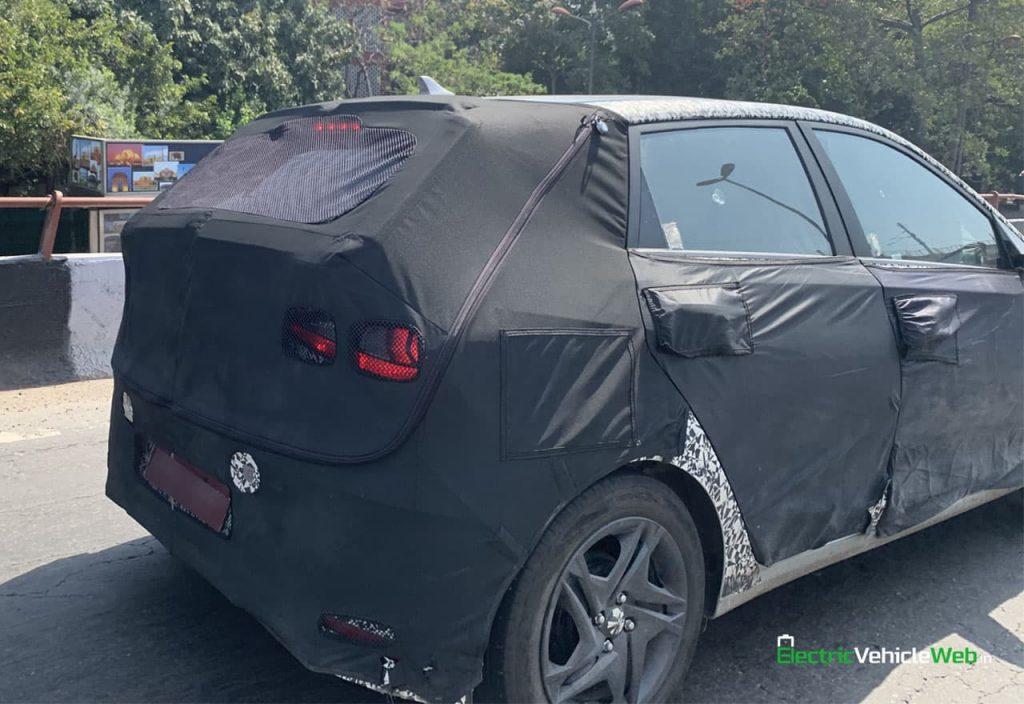 new Hyundai i20 spied testing rear quarter view