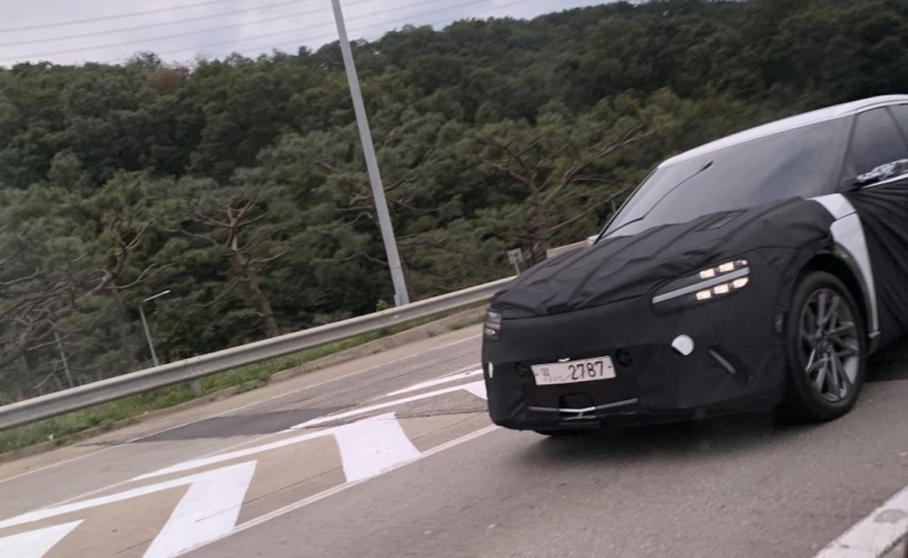 Genesis JW electric SUV front fascia headlights spy shot