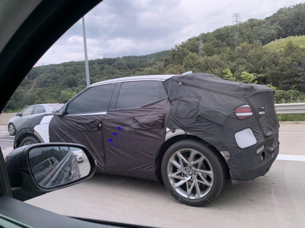 Genesis JW electric SUV side virtual mirrors spy shot