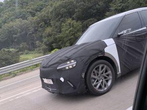 Genesis JW electric SUV virtual mirror spy shot