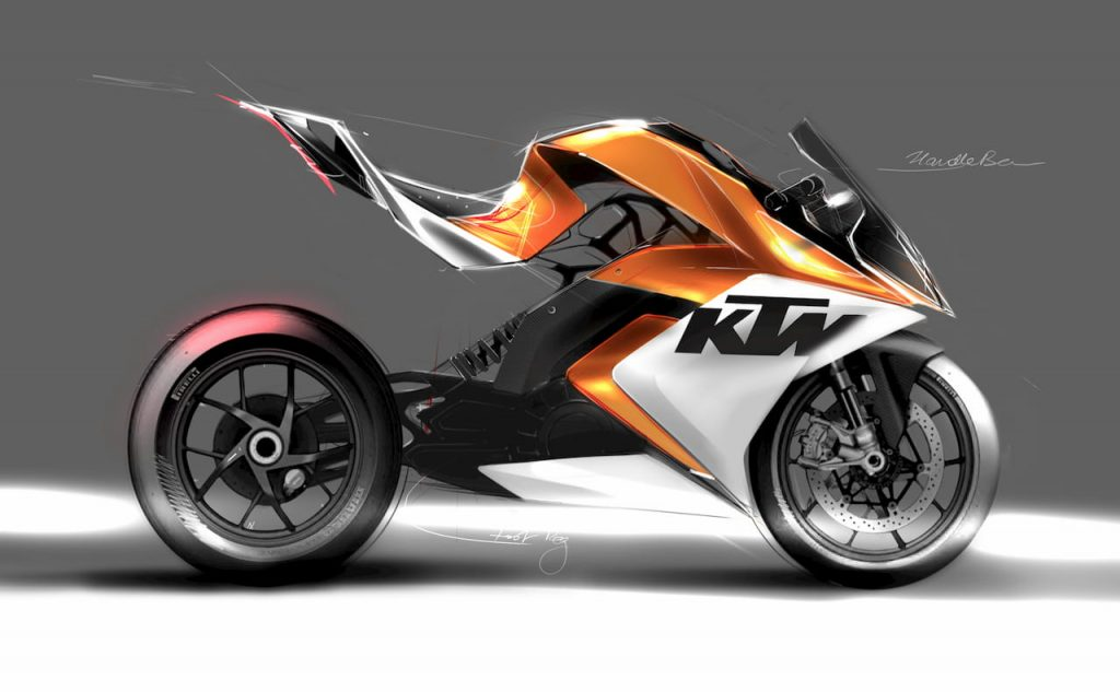 KTM RC Electric Bike project sketch by Mohit Solanki