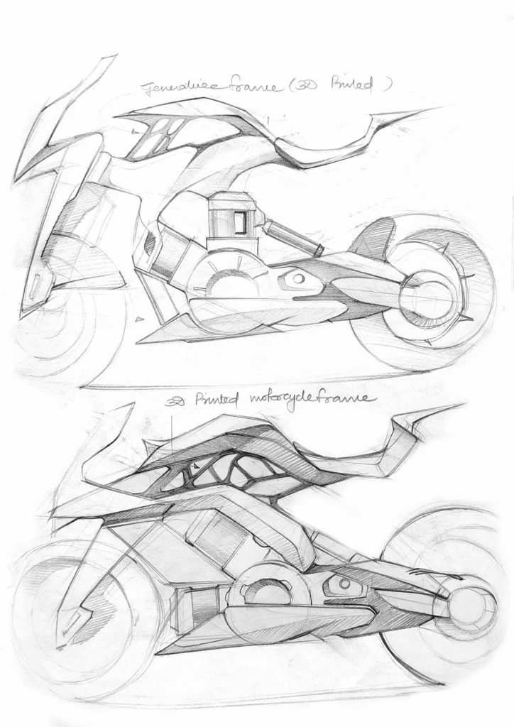 KTM RC Electric Bike project sketches by Mohit Solanki