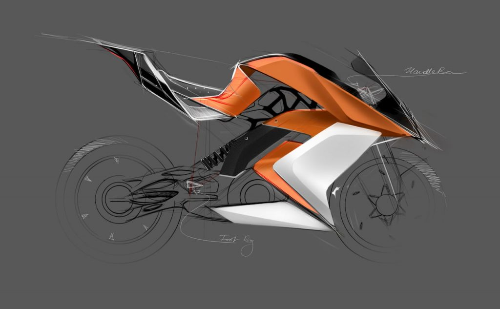 KTM RC Electric Bike sketching view by Mohit Solanki