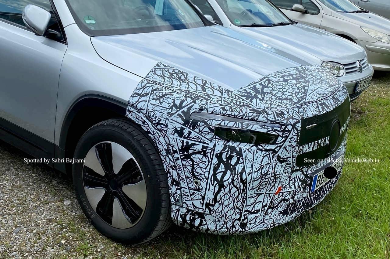 Mercedes EQB front fascia spy shot electricvehicleweb