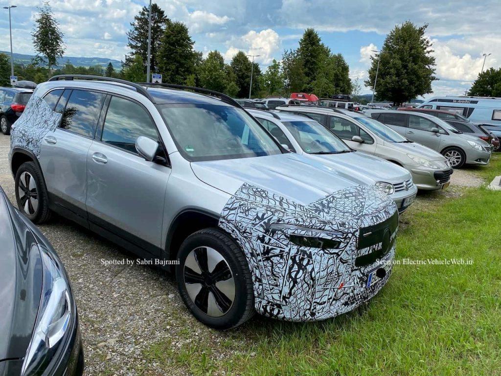 Mercedes EQB front quarters spy shot electricvehicleweb