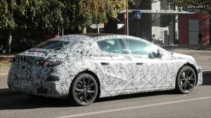 Mercedes EQE sedan rear quarters spy shot
