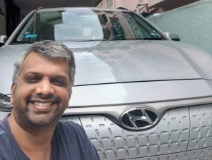 Akhil Krishnan and his Hyundai Kona Electric