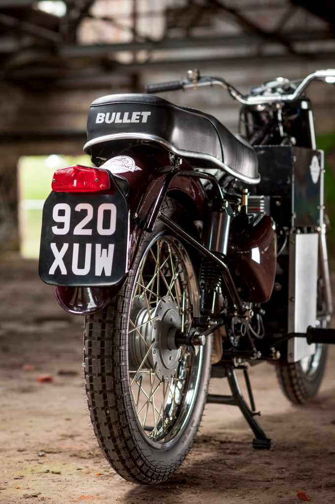 'Charging Bullet' electric Royal Enfield Bullet conversion rear