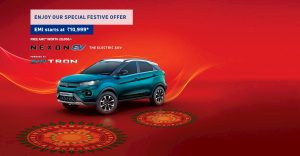 New Tata Nexon EV Bi Arrow grille front quarters