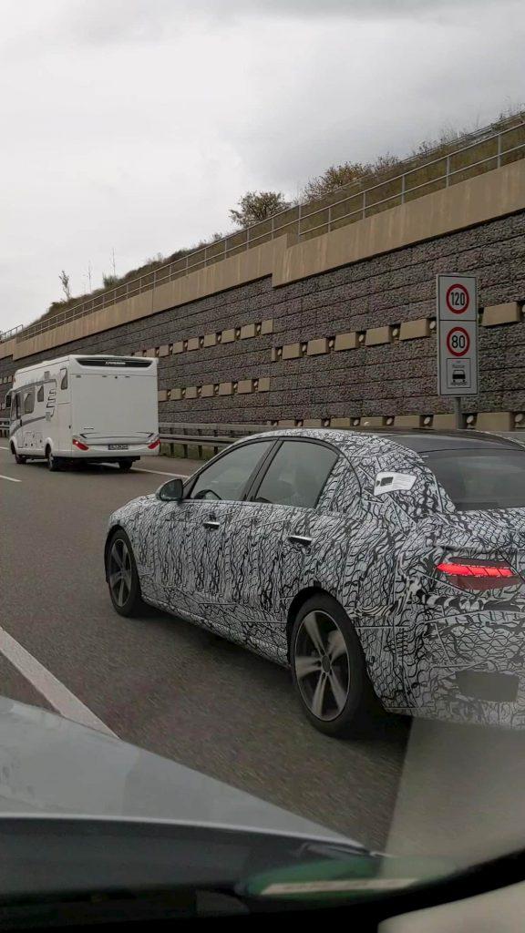 2021 Mercedes C-Class W206 rear quarters spy shot