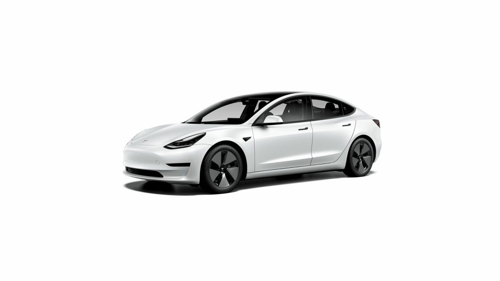 Base Tesla Model 3 Standard Range Plus white front quarters