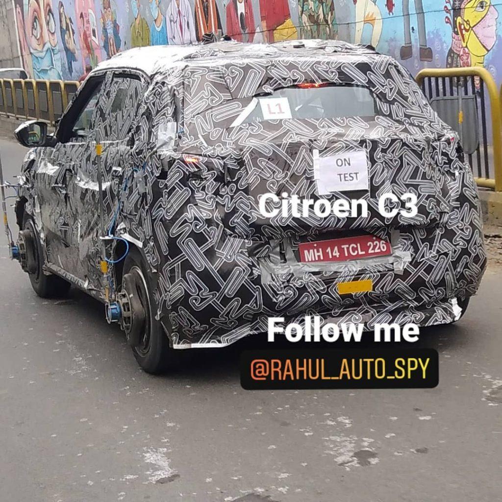 Citroen CC21 electric-ready sub-4m SUV rear spyshot