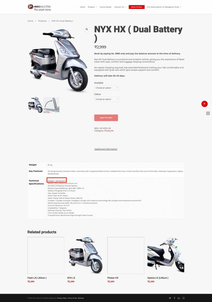 Hero Electric NYX HX specifications