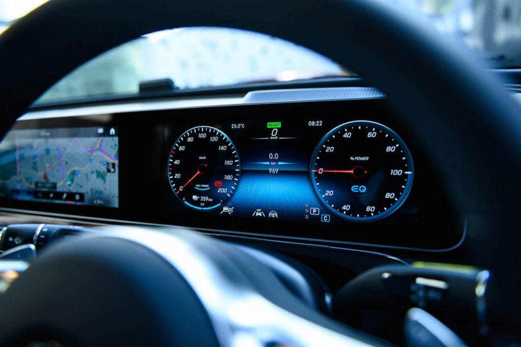 RHD Mercedes EQC white instrument cluster