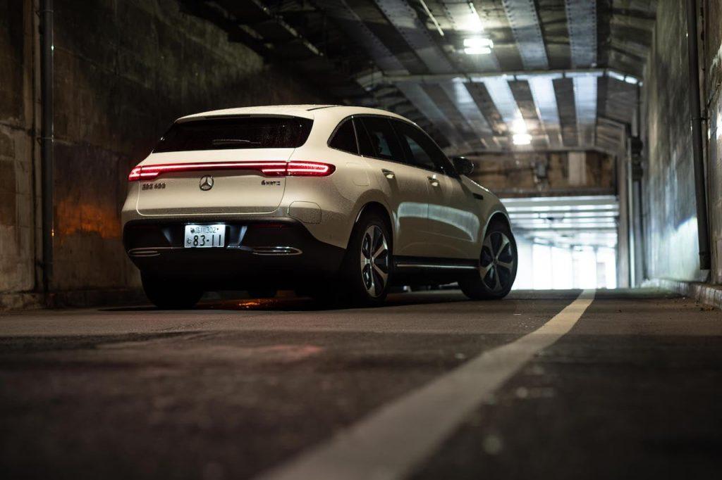 RHD Mercedes EQC white rear quarters dynamic