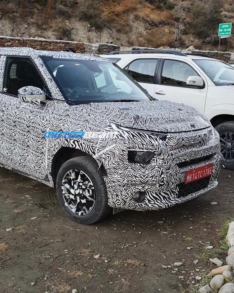 Tata HBX front three quarters spy shot