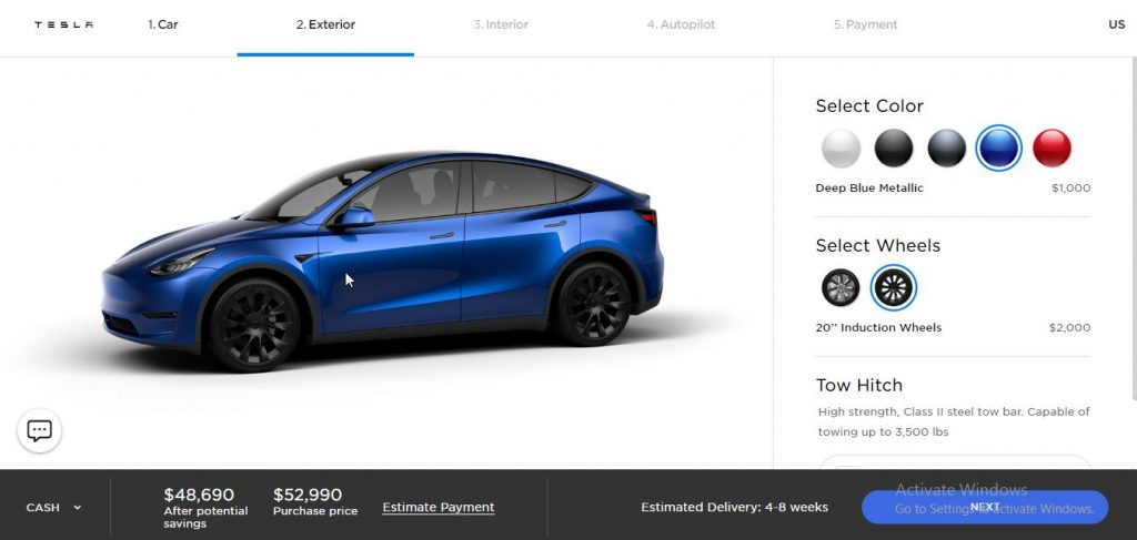 Tesla Model Y online configurator
