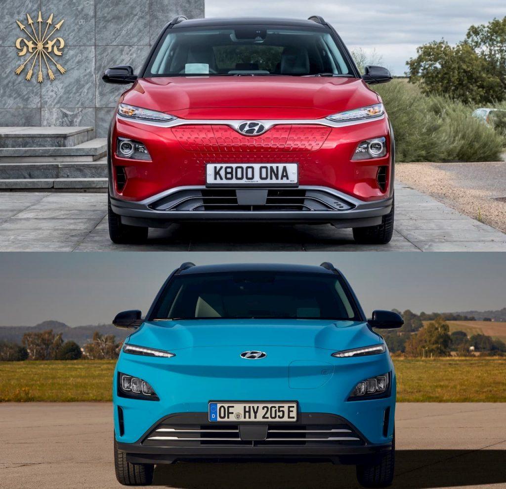 2021 Hyundai Kona Electric facelift vs. 2018 Hyundai Kona Electric front