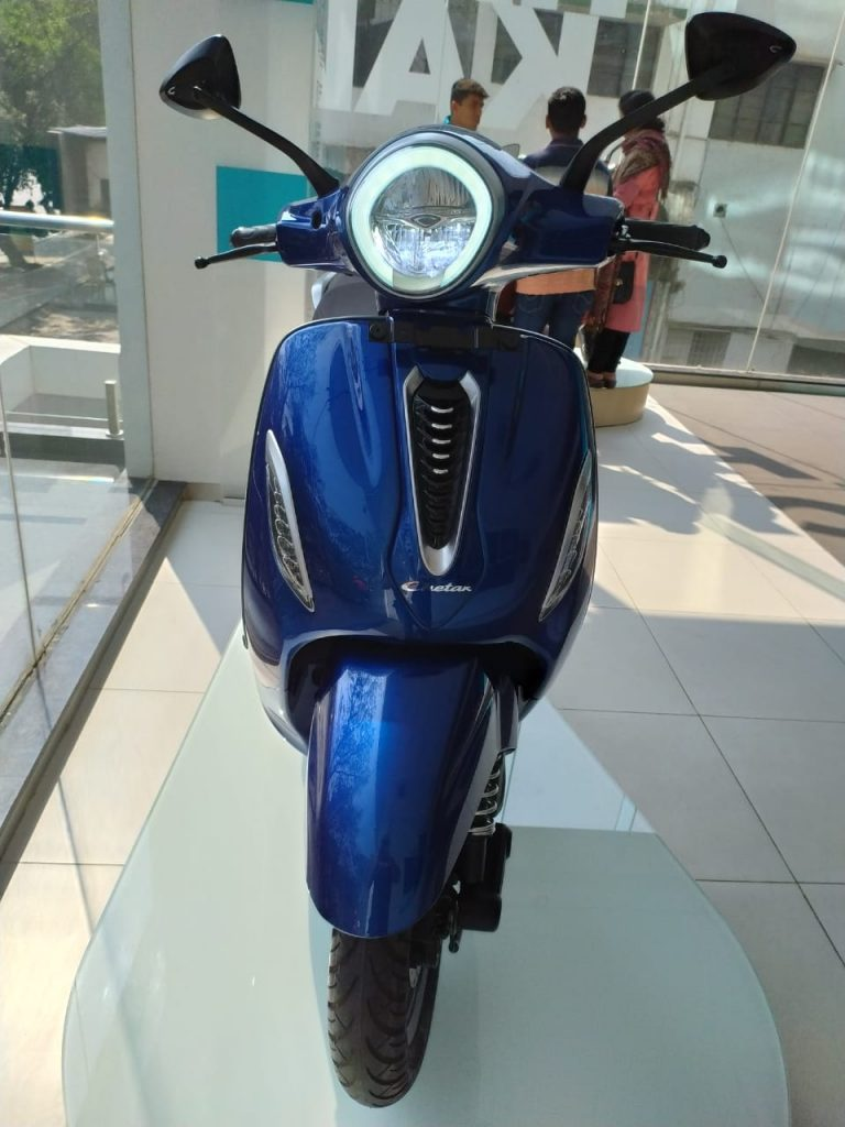 Bajaj Chetak electric scooter blue colour photo