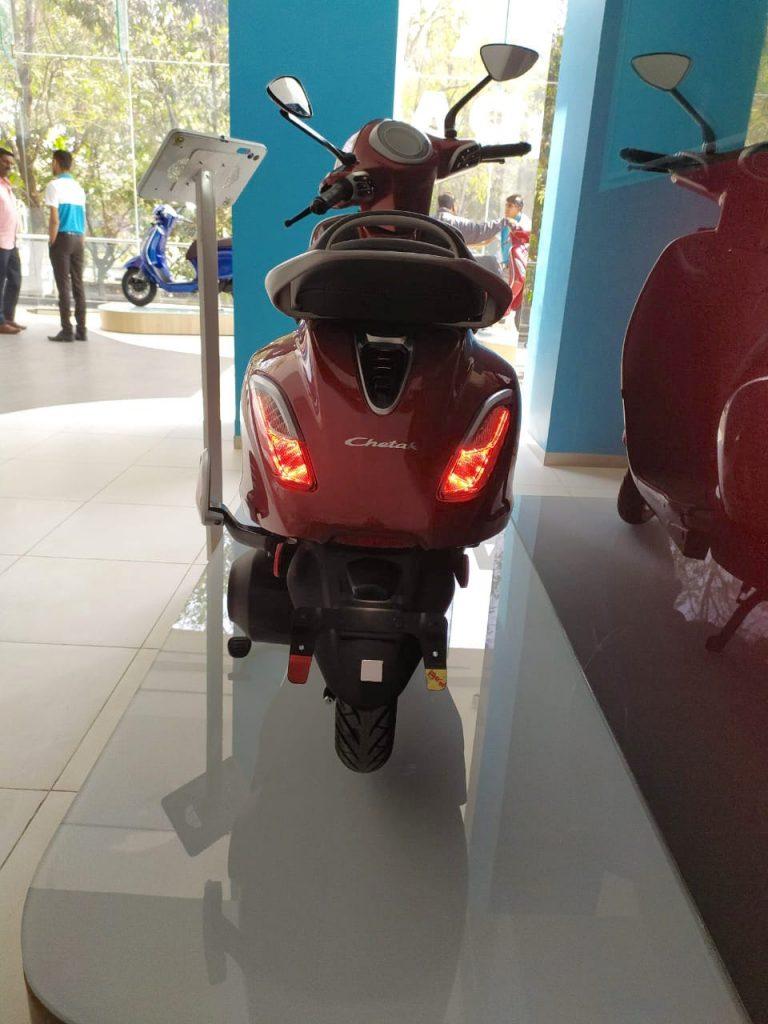 Bajaj Chetak electric scooter red rear photo