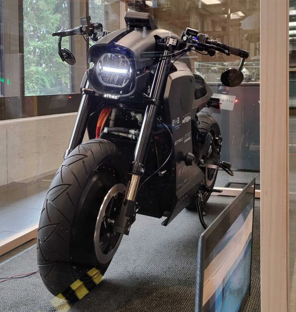 ETH Zurich electric motorcycle on display