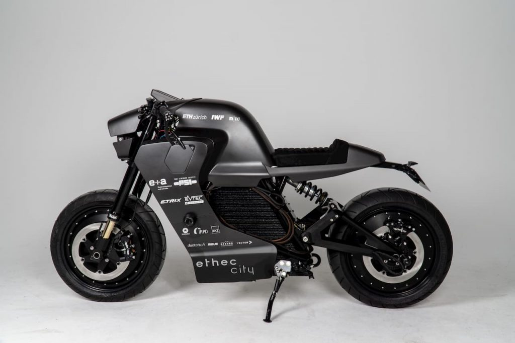 Ethec City electric motorcycle side view Zurich