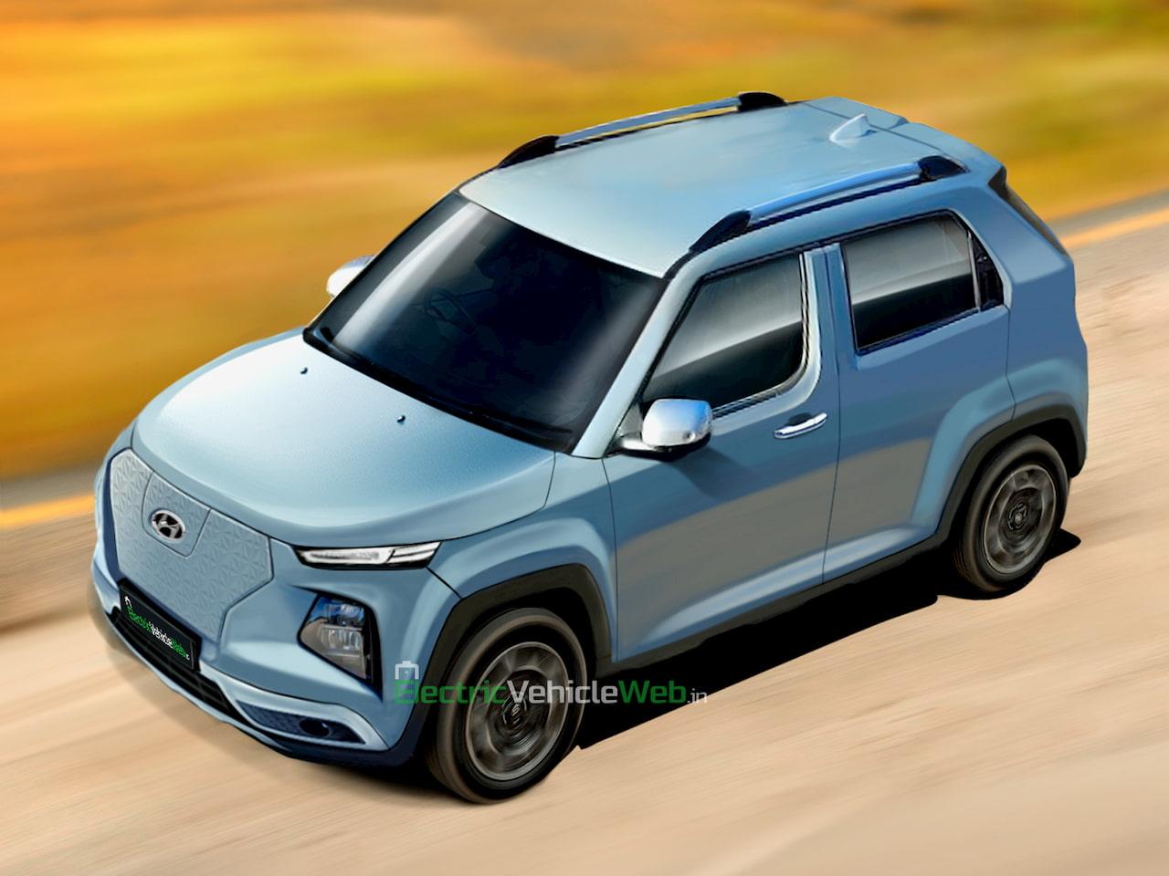 Hyundai electric car 2023 India 10 lakh rendering