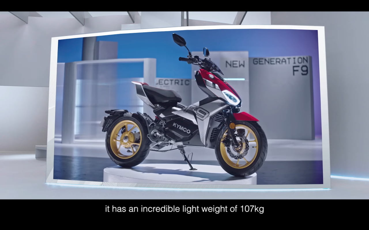 KYMCO K9 electric motorcycle front three quarters