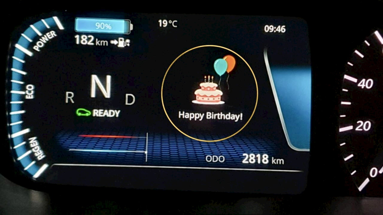 Tata Nexon EV birthday wish instrument cluster