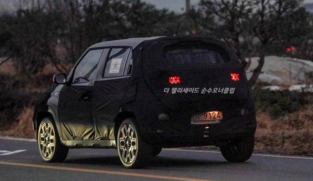 Hyundai AX Hyundai micro-SUV rear quarters spy shot