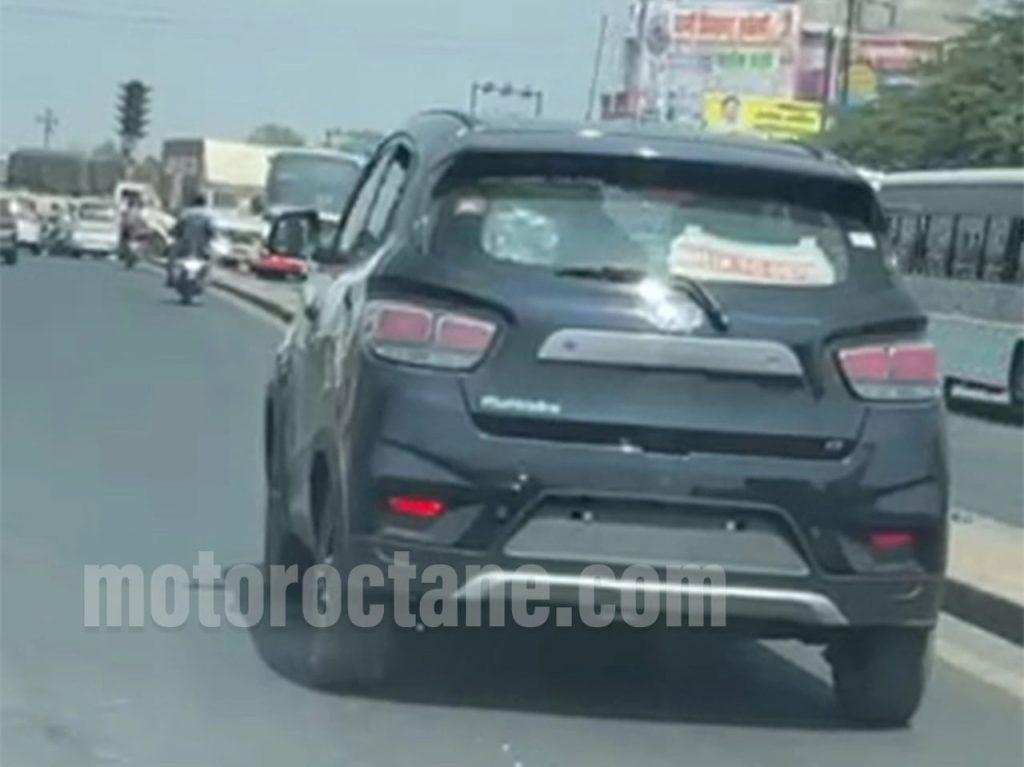 Mahindra eKUV100 rear three quarters spy shot