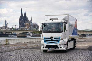 Mercedes eActros electric truck front quarters