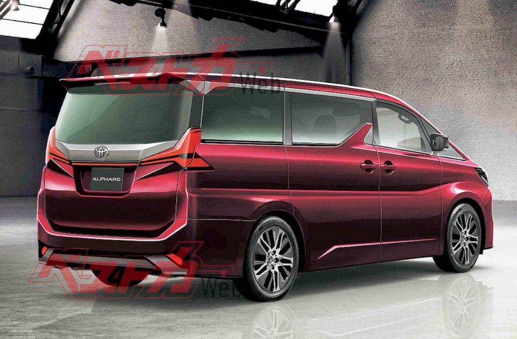 Next-gen Toyota Alphard 2021 rear quarters rendering