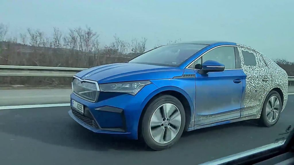 Skoda Enyaq Coupe front quarters spy shot