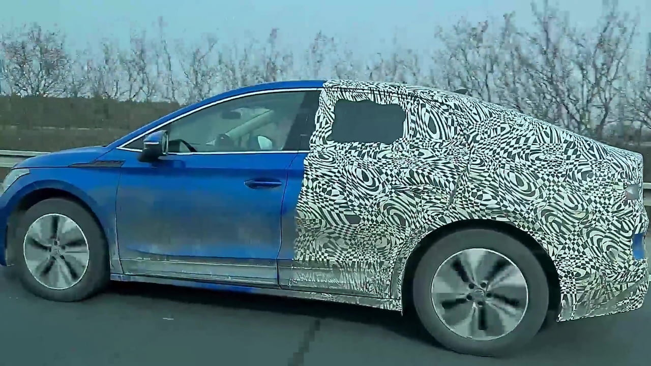 Skoda Enyaq Coupe profile side spy shot