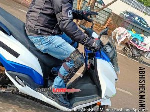 Suzuki Burgman electric EV instrument side spy shot