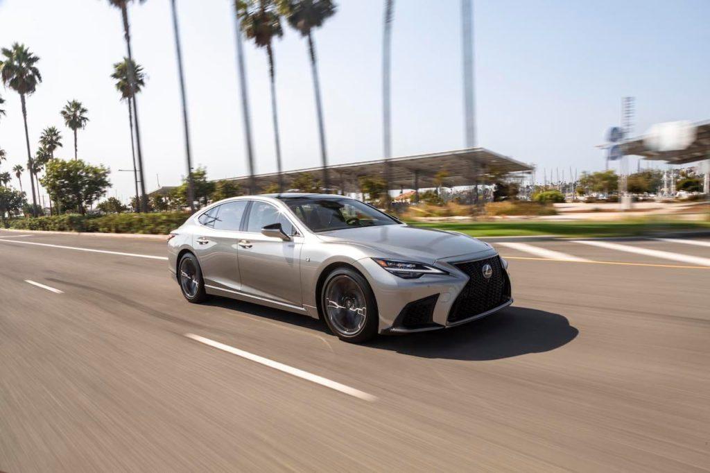 US-spec 2021 Lexus LS facelift front three quarters